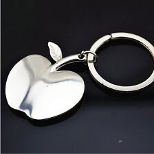 Cute Metal Mini Apple 3D Chrome Fashion Keyring Keyfob Charm Key ring chain Gift
