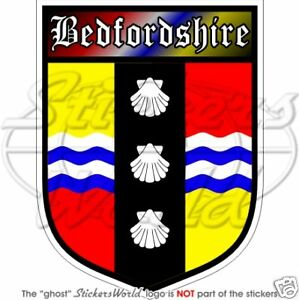 """BEDFORDSHIRE County Shield Bedford BEDS British 100mm (4"""") Bumper Sticker Decal"""