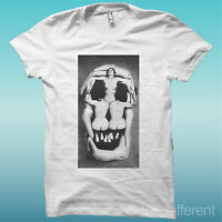 T-SHIRT TESCHIO DONNE SKULL WOMANS BIANCO THE HAPPINESS IS HAVE MY T-SHIRT NEW