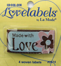 MADE WITH LOVE Woven Labels (Qty-4)  Iron-On/Sew-In