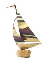 """Curtis Jere Signed Airbrushed Brass Sailboat Sculpture On Rock Base 11""""h x 5""""w"""