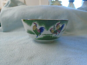 Vintage Chinese Porcelain Bowl Featuring Roosters and Bat