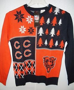 NFL Chicago Bears Busy Block Ugly Sweater Youth Size Youth Medium by FOCO