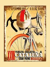 vintage retro style Cataluna cycling poster image metal sign wall door plaque