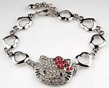 HELLO KITTY PINK BOW HEART CRYSTAL CHARM BRACELET