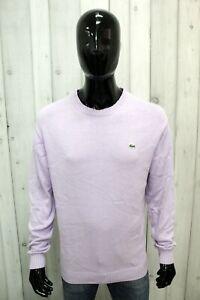 Maglione LACOSTE Uomo Taglia 5 / L Maglia Sweater Blu Cotone Maglietta Pullover