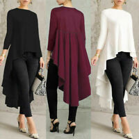 Women Long Sleeve Asymmetrical Waterfall Shirt Tops High Low Plus Blouse