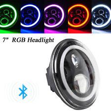 7'' H4 H13 Round Angel Eye LED Hi/Lo Headlight Fit for 97-18 Jeep Wrangler JK TJ