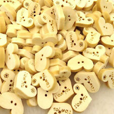10/50/100pcs I Love You Heart Wood Buttons 2Holes Sewing Crafts WB247