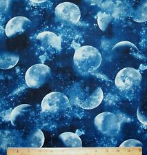 Planets Ringed Moon Constellation Glow In the Dark Stars Cotton Fabric BTHY