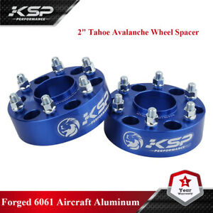 """6x5.5 Black Hub Centric 2"""" Thick Wheel Spacers Adpters 78.1 Hub Bore for Chevy"""