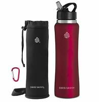 SWIG SAVVY Stainless Steel Insulated Water Bottle Wide Mouth 25Oz with Straw Lid