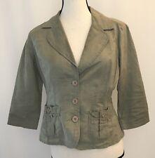 DKNY Jeans Women's Size S Linen Blazer Petite Green Thin Donna Karen Lightweight
