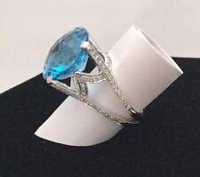Natural 10 Carat Blue Topaz & Diamond Ring 14K White Gold Finger Size 5 Gorgeous