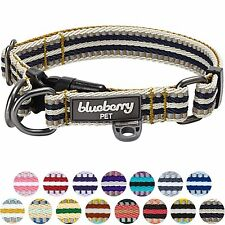 Blueberry Pet 11 Colors 3m Reflective Multi-colored Stripe Dog Collar Olive and