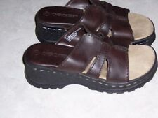 "CHEROKEE Brown Sandals 2"" Wedge Heel Slides Womens Slip On Shoes Size 2 EUC"
