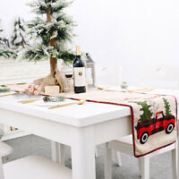 Christmas Table Runner Cover Cloth Xmas Tablecloth Decor Cotton Linen Dining