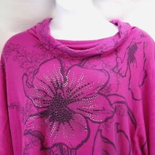 Women's Sweater 2x Cowl Neck Pink Hibiscus Bejewel Sparkly Made in USA Floral