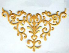 "Embroidered Applique Collar Yoke Metallic Gold Sewing Craft Motif 10"" (GB275-gl)"