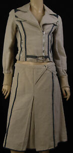 Authentic Exte Women's linen  skirt suit US 6 I 42 Made in Italy