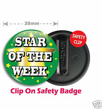 10 X Star of The Week School Teacher Reward Safety Clip Badges 38mm Green