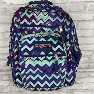 Jansport Zig Zag Turquoise Purple Bag Backpack 2 Compartment