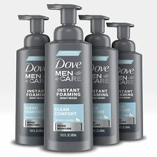 Dove Men+Care Foaming Body Wash to Hydrate Skin Clean Comfort 13.5 oz 4 Count