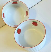 Vintage Strawberry Ramekin Custard Dish Stoneware 7 ounce Made in Japan Set of 2
