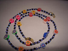 """Handmade Multi Colour Rubber Flowers Spectacle Chain 28"""""""