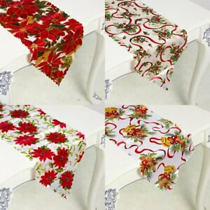 Polyester Christmas Table Runner Tablecloth Cover Home Xmas Party Table Decor