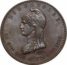 O510 Rare Médaille Essai Module 10 Centimes Révolution Française 1789 Directoire