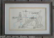 """Artists Proof A/P """"Spindrift"""" New York Boating Nautical Dock Scene Signed Print"""