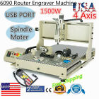 3D VFD CNC 6090 4Axis Engraver Water-cooling Router Engraving Milling Machine