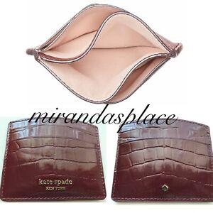 NEW kate spade Sylvia Croc Embossed Leather Cherrywood Card Holder PWRU7531