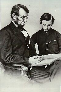 Abraham Lincoln with his son Tad, 16th President, American Civil War -- Postcard
