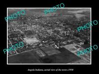 OLD POSTCARD SIZE PHOTO ANGOLA INDIANA AERIAL VIEW OF THE TOWN c1950 1