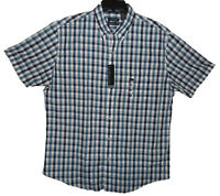 Van Heusen Blues Gray Plaid Button Down Casual Shirt Men's Size Large New