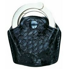 Aker Leather Black 506 Slim Open Handcuff Case For Standard Chain Link Cuff