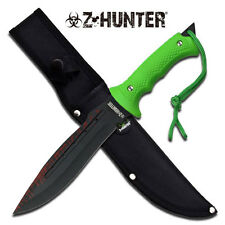 "Zombie 12"" Full Tang Dagger With 3MM Thick Blade, Green Nylon Fiber Grip & Glass"