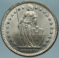 1958 SWITZERLAND - SILVER 2 Francs Coin HELVETIA Symbolizes SWISS Nation i82807