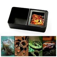 Plastic ortable Reptile Grid Feed Box Food Water Dish Pet Tortoise Spider S E6L9