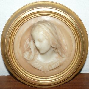 Painting Medallion Wax Virgin Madonna