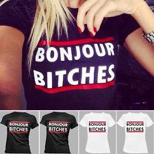Damen Kurzarm T-Shirt BONJOUR BITCHES Oberteil Hemd Sommer Tunika Tops Blusen DE