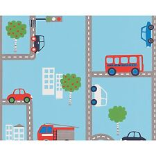 BLUE TRANSPORT WALLPAPER ROLLS (93632-1) CARS, BUSES KIDS BEDROOM A.S. CREATION