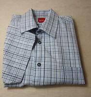Hübsches ESPRIT Kurzarm Hemd, Baumwolle blau  kariert Gr L = 52-54