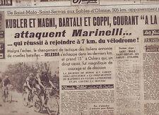 journal  l'équipe  du 06/07/49 CYCLISME TOUR DE FRANCE 1949  COPPI OCKERS