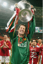Manchester United main signé Edwin van der sar photo 12x8.