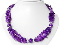 Damen Halskette aus Edelsteinen Amethyst 925er Silber Verschluss