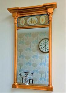 Regency Pier Mirror Verre Eglomise Panel Military Gilt Wood Gesso Antique c 1815