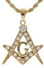 "Masonic 20 CZ Jeweled Pendant 22"" 2 mm French Rope Chain 18K Gold Overlay B14"